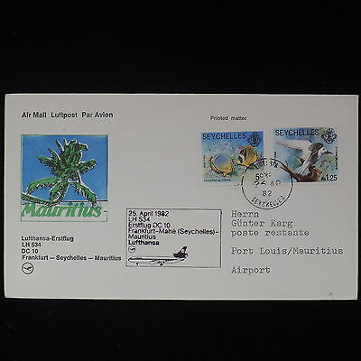 ZS-Z465 SEYCHELLES IND - Lufthansa, 1982 First Flight Seychelles Mauritius Cover