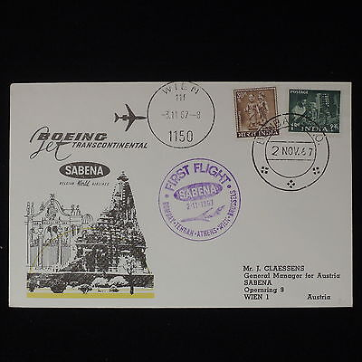 ZS-Z483 INDIA IND - Sabena, 1969 First Flight Bombay Wien Cover