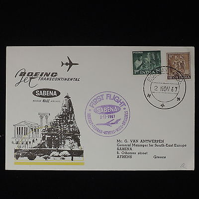 ZS-Z484 INDIA IND - Sabena, 1969 First Flight Bombay Athens Cover