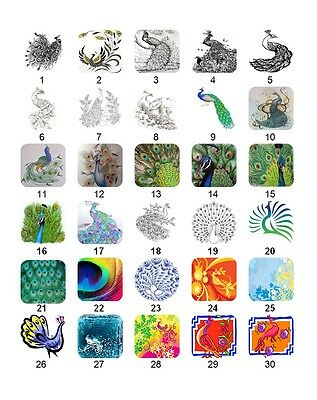 30 Square Stickers Envelope Seals Favor Tags Peacocks Buy 3 get 1 free (p1)
