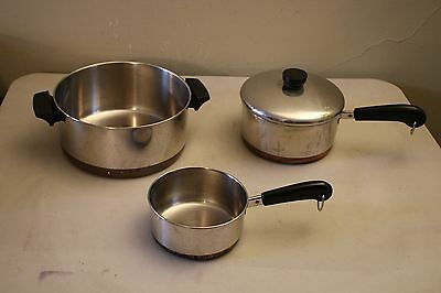 Lot of 4 Pieces of Vintage Revere Cookware: Large Pot, 2 Saucepans And Lid