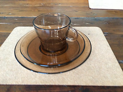 SET of vintage DURALEX FRENCH AMBER glass TEA CUPS, SAUCERS & SIDE PLATES