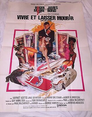 "LIVE AND LET DIE 1973 VERY LARGE ORIGINAL FRENCH POSTER 63 x 47"" James Bond"