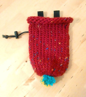 Knitted Chalk Bag - Hat Shape Rock Climbing Bouldering Red Birthday Gift