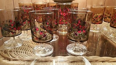 """Vintage French """"Peacock"""" Glass set. Very retro!"""