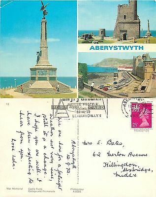 s08308 Aberystwyth, Cardiganshire, Wales postcard posted 1972 stamp