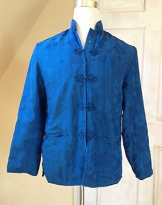 Chinese New Year Traditional Mens All-Silk Mandarin Kung Fu Jacket Blue Size M