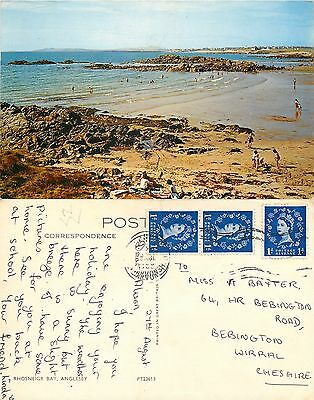 s08313 Rhosneigr Bay, Anglesey, Wales postcard posted 1966 stamp