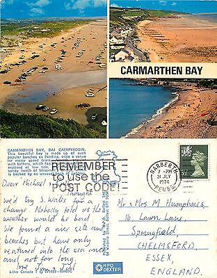 s08318 Carmarthen Bay, Carmarthenshire, Wales postcard posted 1974 stamp