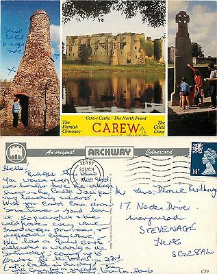 s08319 Carew, Pembrokeshire, Wales postcard posted 1989 stamp