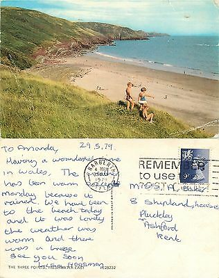 s08325 The Three Points, Freshwater East, Pembrokeshire, Wales postcard 1979