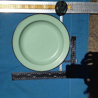 Vintage Enamel Ware #5 Large Green Plate with black trim.