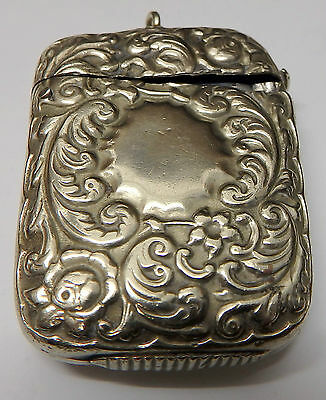 Antique Vesta Case: White Metal: Heavily Embossed: Vacant Cartouche: With Bale: