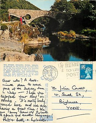 s08335 The Bridge, Cenarth, Carmarthenshire, Wales postcard posted 1975 stamp