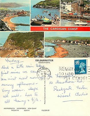 s08338 Coast towns, Cardiganshire, Wales postcard posted 1976 stamp