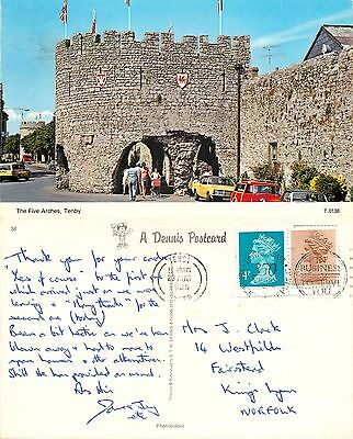 s08345 The Five Arches, Tenby, Pembrokeshire, Wales postcard posted 1985 stamp