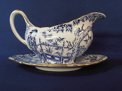 ROYAL CROWN DERBY MIKADO GRAVYBOAT and UNDERPLATE - MINT!