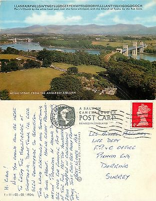 s08349 Menai Strait, Llanfair PG, Anglesey, Wales postcard posted 1970 stamp