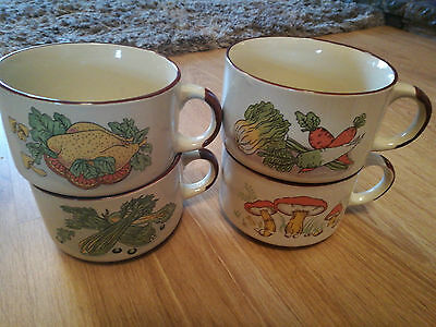 4 Vintage Shell Promotion Soup Bowls / Mugs With Handle 70's / 80's Retro UK