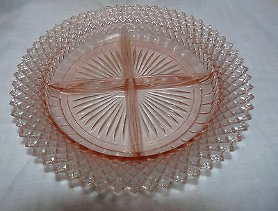 1930s Miss America Pink Glass Divided Relish Plate 9""