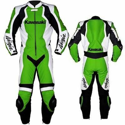 1&2 PIECE kawasaki green Motorcycle Leather Suit MOTOGP Motorbike Leathers new