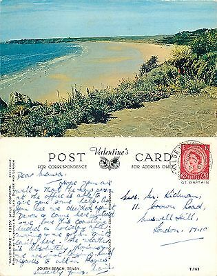s08367 South Beach, Tenby, Pembrokeshire, Wales postcard posted 1961 stamp