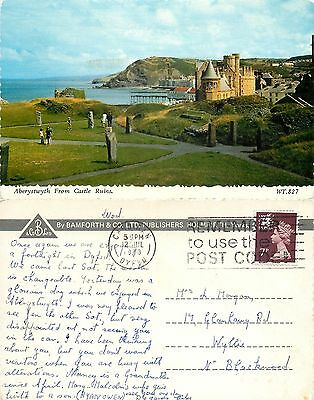 s08368 From Castle Ruins, Aberystwyth, Cardiganshire, Wales postcard posted 1979