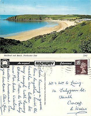 s08369 Headland & Beach, Freshwater East, Pembrokeshire, Wales postcard 1978