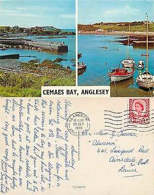 s08374 Cemaes Bay, Anglesey, Wales postcard posted 1970 stamp