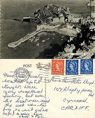 s08386 Harbour, Tenby, Pembrokeshire, Wales postcard posted 1960 stamp