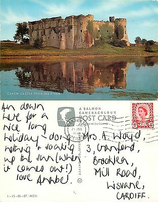 s08387 Carew Castle, Pembrokeshire, Wales postcard posted 1969 stamp
