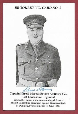 Signed Brooklet Card -  Harold Ervine-Andrews Vc - Victoria Cross Recipient Wwii