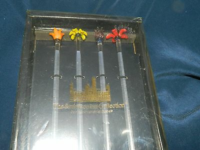 Set of 4 Glass Smithsonian Collection Crafted by Goebel Flower Swizzle Sticks