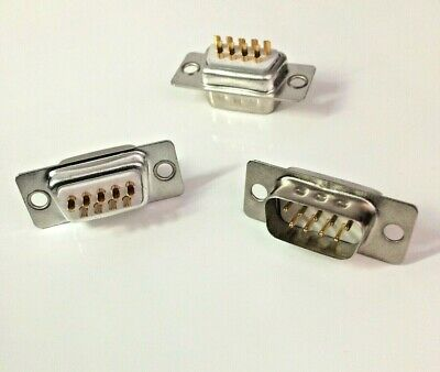 Pack of 3 ~ 9 Pin Male D-Sub Socket Chassis Solder Connector  RS232 Serial DB9
