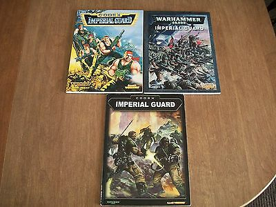 Warhammer 40K 3 Book Imperial Guard Codex Lot (Soft Cover)(oop)