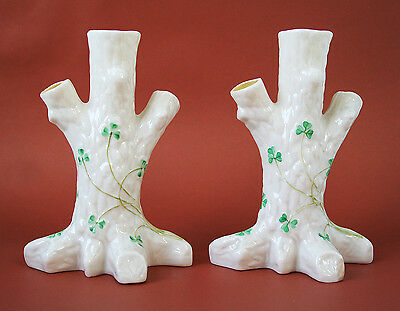 Vintage Belleek Tree Vases 6""