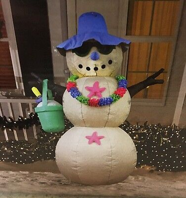 NEW 6 FT BEACH SNOWMAN Airblown LED Lighted Yard Inflatable Pool Side Burlap