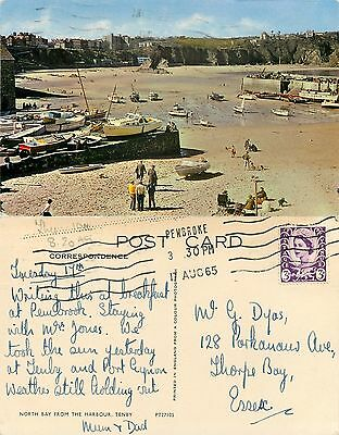 s08404 North Bay, Tenby, Pembrokeshire, Wales postcard posted 1965 stamp