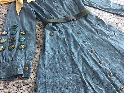 RARE WWII Girl Scout UNIFORM - DRESS with belt badges and more! Circa.1938-1948