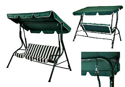 Garden Swing Hammock 3 Seater Patio Chair Green Outdoor Furniture Relax Lounger