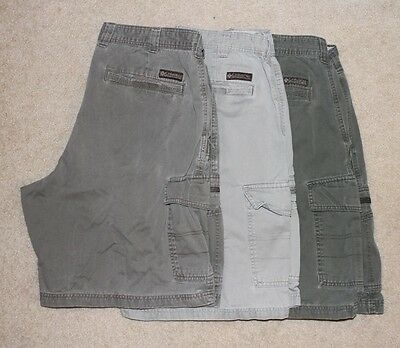 Lot Of 3 Columbia Mens Multi-Color Cargo Shorts 100% Cotton Size 36