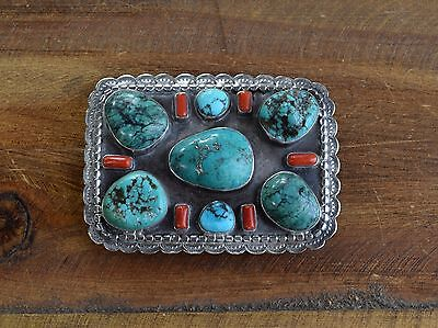 Vintage Southwest Sterling Silver, Coral, and Turquoise Belt Buckle