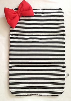 Black white stripe baby travel changing mat cotton waterproof new red  bow