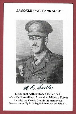 Signed Brooklet Card -  Arthur Roden Cutler Vc - Victoria Cross Recipient Wwii.