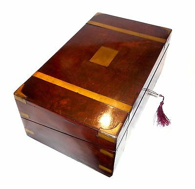Antique Vintage Mahogany Writing Slope Box Cabinet Lap Desk + Brass Bound & Ink