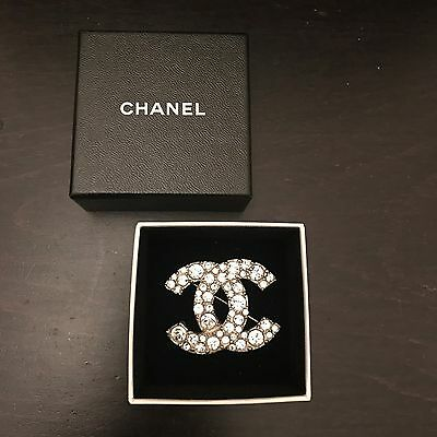 Authentic Vintage Chanel Silver Tone Full Crystal Brooch In Box