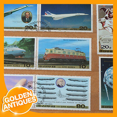 old rare vintage KOREA 1987 'Transports Trains Airplanes Space' set 8 stamps MNH