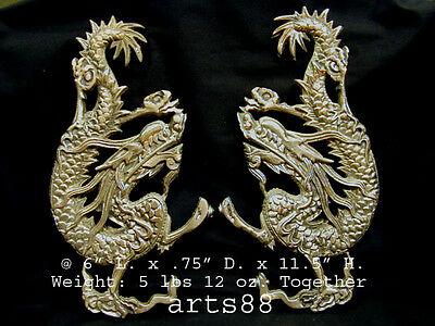 Chinese Solid Brass Dragon Statue Pair - Year of the Dragon 2012