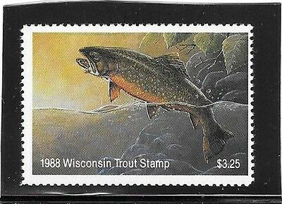 Wisconsin - Trout Stamp - MNH - 1988