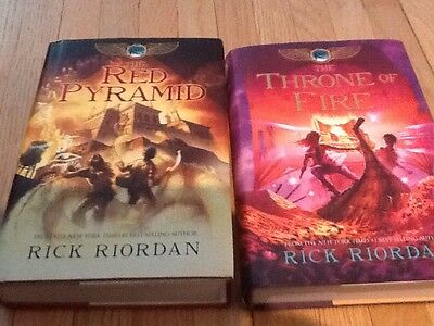 Lot 2 Rick Riordan Books Hardcover Red Pyramid Throne Of Fire
